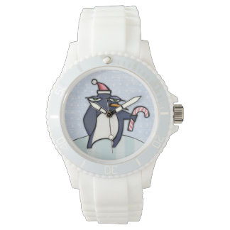 Grouchy Penguin Christmas snow Sporty Watch