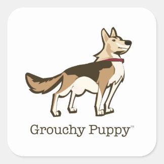 Grouchy Puppy Stickers!! Square Sticker