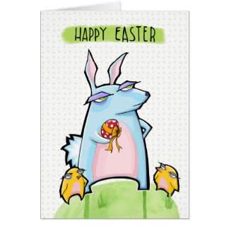 Grouchy Rabbit dots Easter Card