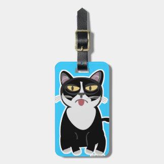 Grouchy Sourpuss Cartoon Cat Bag Tag