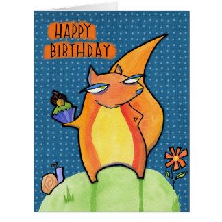 Grouchy Squirrel Birthday blue Big Card