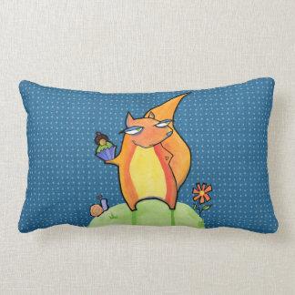 Grouchy Squirrel blue Throw Pillow