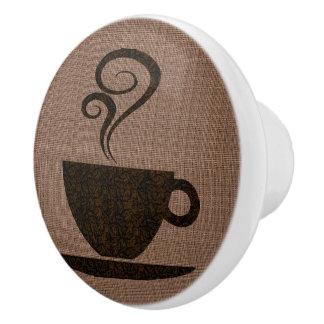 Ground Cup on burlap - cabinet knob Ceramic Knob