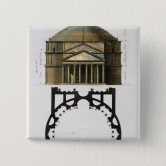 Ground plan and facade of the Pantheon, Rome, from Pinback Button