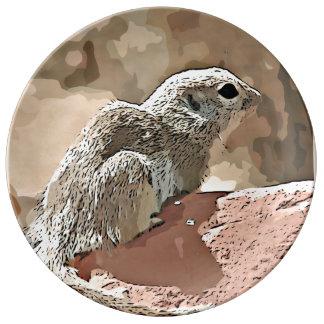 Ground Squirrel in Cartoon Decorative Plate