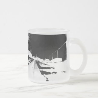 Ground View Of Rail Road Tracks - negative Frosted Glass Coffee Mug