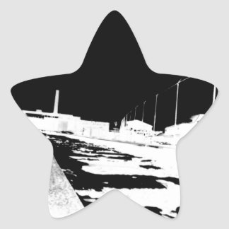 Ground View Of Rail Road Tracks - negative Star Sticker