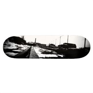 Ground View Of Rail Road Tracks Skateboard Deck