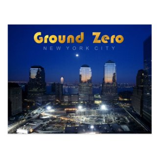 Ground Zero, Manhattan, NYC at night Postcard