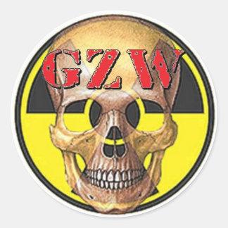 Ground Zero Warhead Red Skull Classic Round Sticker