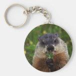 Groundhog con las flores llavero