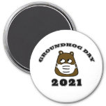 Groundhog Day 2021 with Groundhog in Face Mask Magnet