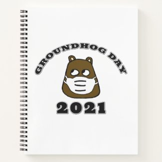 Groundhog Day 2021 with Groundhog in Face Mask Notebook