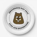 Groundhog Day 2022 with Groundhog Face Paper Plate