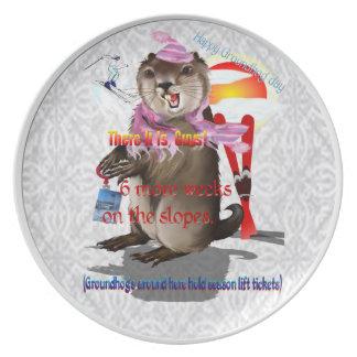 Groundhog Day-6 más placa de las semanas Plato Para Fiesta