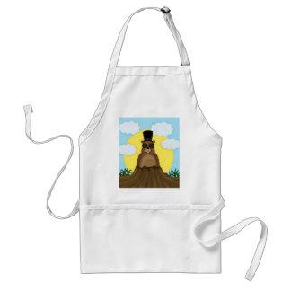 Groundhog day adult apron