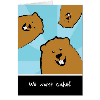 Groundhog Day Birthday Card Searching for Cake