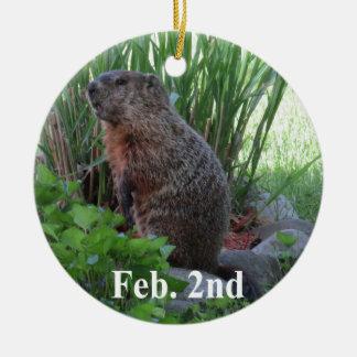 Groundhog Day Ceramic Ornament