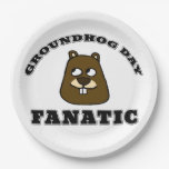Groundhog Day Fanatic Paper Plate