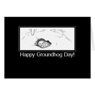 Groundhog Day From Secret Pal Black and White Card