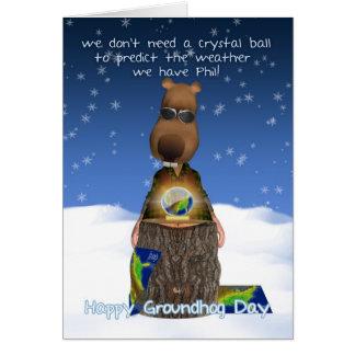 Groundhog Day Greeting Card With Groundhog Crystal
