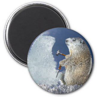Groundhog Day Ice Sculpture Refrigerator Magnet