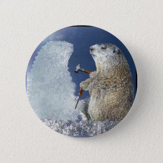 Groundhog Day Ice Sculpture Pinback Button
