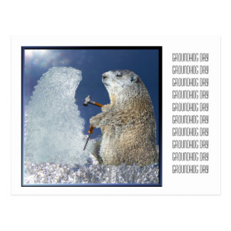 Groundhog Day Ice Sculpture Postcard