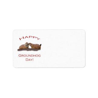Groundhog Day Kiss Address Label