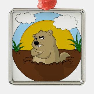 Groundhog day metal ornament