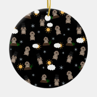 Groundhog Day Pattern Ceramic Ornament