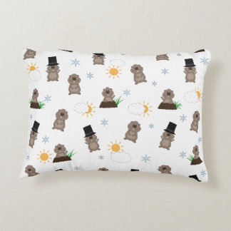 Groundhog Day Pattern Decorative Pillow