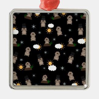Groundhog Day Pattern Metal Ornament