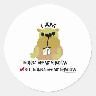 Groundhog day vote no shadow classic round sticker