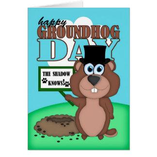 Groundhog Day With Cute Cartoon Groundhog Greeting Card