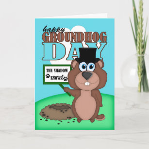 Groundhog day cards zazzle groundhog day with cute cartoon groundhog card m4hsunfo