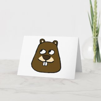 Groundhog Face Card