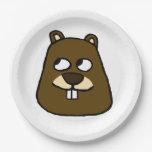 Groundhog Face Paper Plate