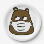 Groundhog in Face Mask Paper Plate