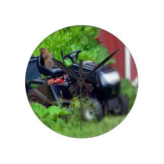 Groundhog on a Lawn Mower Round Clock