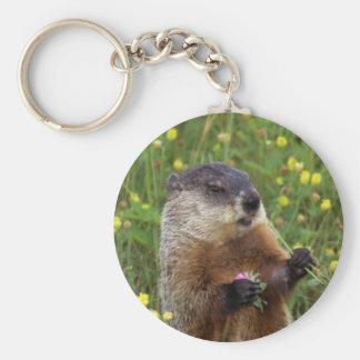 Groundhog Pose Basic Round Button Keychain