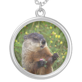 Groundhog Pose Silver Plated Necklace