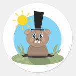 Groundhog Round Sticker
