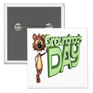 Groundhogs Day 2 Inch Square Button