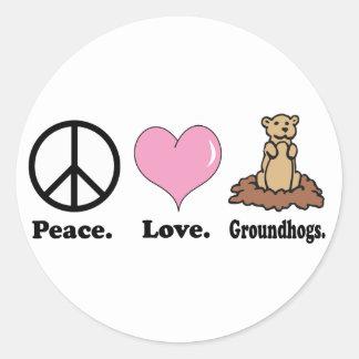 groundhogs del amor de la paz pegatina redonda