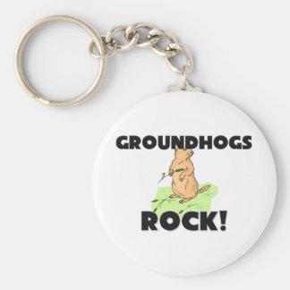 Groundhogs Rock Basic Round Button Keychain
