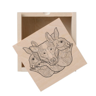 Group Animal Doodle Wooden Keepsake Box