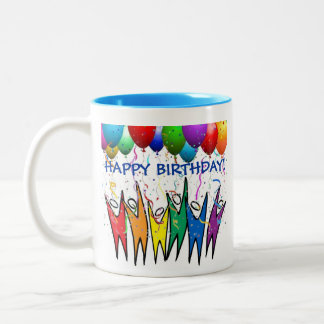 Group Birthday Cheer! Personalize it! AA/NA Two-Tone Coffee Mug
