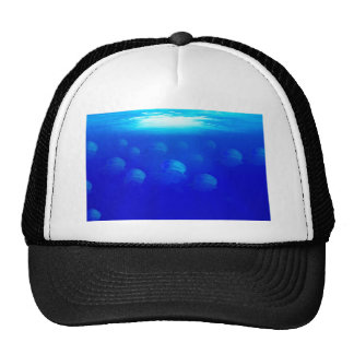 Group blue jellyfish in the Atlantic ocean swiming Trucker Hat