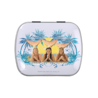Group Blue Palm Tree Graphic Candy Tin
